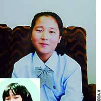 Kim Hye Gyong, whom the government confirmed Thursday as the North Korean-born daughter of Japanese abductee Megumi Yokota (inset), is shown in this photo taken in late September by a government mission to Pyongyang.