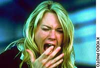 Australian actress Naomi Watts screams in terror in a scene from 'The Ring,' a Hollywood remake of the Japanese horror film 'Ringu.'