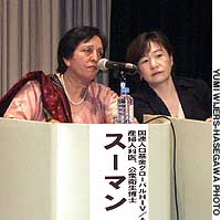 Suman Mehta, an expert on reproductive health rights, speaks at a lecture at the National Women's Education Center in Saitama Prefecture last week.