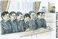 Kenzo Koshijima (second from right) listens as the Mito District Court hands out suspended sentences to him and five other employees of the nuclear fuel processing company, JCO.