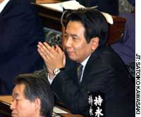 Yukio Edano, policy chief of the Democratic Party of Japan, waits for a Lower House plenary session to begin.