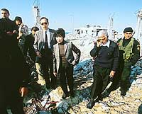 Yuriko Koike tours the Gaza Strip in 2001, viewing damage from Israeli air raids on Palestinian settlements. | PHOTO COURTESY OF YURIKO KOIKE