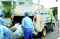 Sanitation workers in Yokosuka, Kanagawa Prefecture, load bags of trash into a garbage truck that runs on bio-gas.