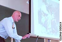Christopher Szpilman speaks of his father, Wladyslaw, during a lecture at Seinan Gakuin University in Fukuoka.