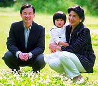 Crown Prince Naruhito and Crown Princess Masako pose with their daughter, Princess Aiko, before the couple's 10th wedding anniversary.   IMPERIAL HOUSEHOLD AGENCY PHOTO