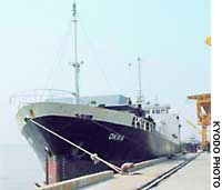 The Panamanian-flagged freighter Okra is berthed Saturday morning at Nagoya port's Yatomi pier.
