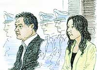 Diet lawmaker Takanori Sakai (left) and his secretary, Aki Shionoya, are depicted at their hearing at the Tokyo District Court.   KYODO ILLUSTRATION
