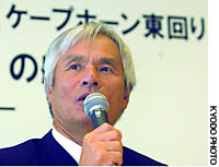 Yachtsman Kenichi Horie announces Thursday in Tokyo that he plans to set out on a solo nonstop voyage around the world in October 2004.