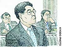 Akira Miyano, a former aide to scandal-tainted lawmaker Muneo Suzuki, appears at the Tokyo District Court for sentencing.   KYODO ILLUSTRATION