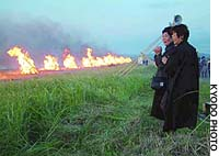 Unclaimed personal effects recovered after a South Korean jumbo jet was shot down by a Soviet fighter in 1983 are burned Monday on a beach in Wakkanai, Hokkaido.
