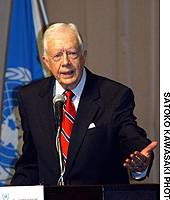 Former U.S. President Jimmy Carter delivers a speech at United Nations University in Tokyo on Friday.