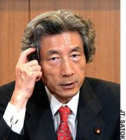 Prime Minister Junichiro Koizumi holds an interview at the Liberal Democratic Party's headquarters in Chiyoda Ward, Tokyo.