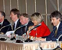 British journalists, from left, Anatole Kaletsky, Jeremy Warner, John Plender, Rosemary Righter and Larry Elliott, are generally positive about the long-term prospects for Japan's  economic recovery.
