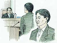 Daisuke Mori listens as he is sentenced to life in prison Tuesday by the Sendai District Court. | KYODO ILLUSTRATION