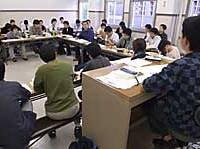 Students discuss the Constitution during a seminar last week at Waseda University.