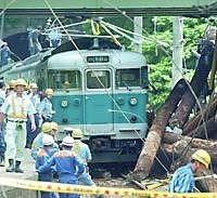 JR West workers and local officials examine on Wednesday the aftermath of a train derailment in Kainan, Wakayama Prefecture, caused by logs falling from an overpass.