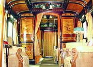 A train carriage once used by the late Emperor Showa when he toured Taiwan as crown prince in 1923 is put on display June 7 in Taipei. | PHOTO COURTESY OF TAIWAN RAILWAY ADMINISTRATION