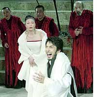 Popular 'Kyogen' drama actor Nomura Mansai rehearses for a Japanese production of 'Oedipus Rex' that premiered in Athens.