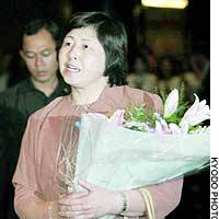 Hitomi Soga arrives Thursday evening at the Jakarta hotel where she will be reunited with her husband and two daughters.
