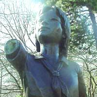 The statue of atomic bomb victim Sadako Sasaki in Seattle Peace Park that was vandalized in December has been repaired through donations. | PHOTO COURTESY OF MICHIKO PUMPIAN