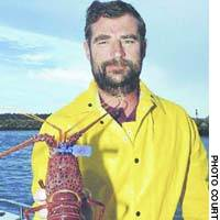 An Australian fisherman displays a spiny lobster with a Marine Stewardship Council-registration certificate mark.