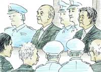 Sadao Usuda (rear, second from left), former chairman of the Japan Dental Association, and Hirotake Uchida (rear, right), a former executive, stand trial before the Tokyo District Court.   KYODO ILLUSTRATION