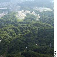 The U.S. military's Ikego housing units, completed in 1998, lie beyond the Yokohama portion of the Ikego forest.