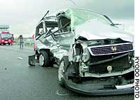 A wrecked vehicle sits on the Hokuriku Expressway in Niigata after a collision that killed three people and injured seven.