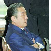 Former Prime Minister Ryutaro Hashimoto sits in a meeting of LDP lawmakers at the Diet building.