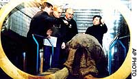 Mammoth experts (from left) Alexei Tikhonov of Russia, Dick Mol of the Netherlands, Larry Agenbroad of the United States and Naoki Suzuki of Japan examine the frozen head of a 10,000-year-old woolly mammoth at a laboratory freezer in Yakutsk, Russia.