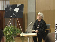 A scene cut from 'The Gift from Beate' shows Beate Sirota Gordon stressing the importance of Article 24 of the Constitution during a lecture in Tokyo.