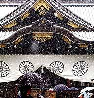 People brave Tokyo's first snow of the season Wednesday to visit Yasukuni Shrine in Chiyoda Ward.