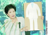 Environment Minister Yuriko Koike holds up a panel showing how to wear a suit fashionably without a necktie at the Environment Ministry on Wednesday.
