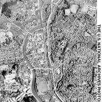 Aerial photographs taken by the U.S. military show the city of Nagasaki two days before the Aug. 9, 1945, atomic bombing and one day after the bombing.