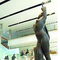 A sculpture is displayed in the second-floor lobby of the Prime Minister's Official Residence in Tokyo's Nagata-cho district in this December 2004 photo.