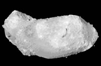 The asteroid Itokawa is seen in a photo taken by the Hayabusa space probe at a point between Earth and Mars.   JAPAN AEROSPACE EXPLORATION AGENCY PHOTO/KYODO