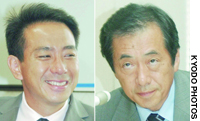 Former Democratic Party of Japan leader Naoto Kan (right) will face off with junior DPJ member Seiji Maehara in Saturday's party presidential race.