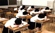 Kurume, Fukuoka Pref. Students nap in a classroom at Meizen High School designated for siestas. PHOTO COURTESY OF NAOHISA UCHIMURA