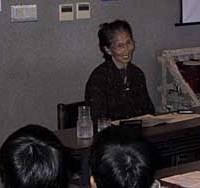 Sumiko Kaneko discusses her struggle against Minamata disease for the last 50 years in front of a group of elementary school children at the Minamata Disease Municipal Museum in Minamata, Kumamoto Prefecture.