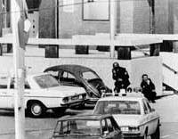 Police take up positions in front of the French Embassy in The Hague during the Japanese Red Army's seizure in 1974.