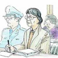 This artist's rendering shows Fusako Shigenobu taking notes as she listens to the judge's ruling during her trial.