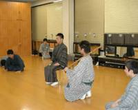Students in the National Theater's kabuki actors' training course rehearse a scene from ``Shuzenji Monogatari'' (``Tale of Shuzenji'') in preparation for a class performance scheduled for next Wednesday.