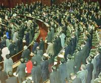 Ruling coalition lawmakers stand up to approve an administrative reform bill in