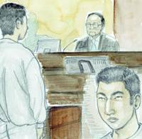 Yukio Yamaji (left and inset), accused of murdering two sisters in Osaka last November, faces presiding Judge Masao Namiki in this courtroom sketch of the opening session Monday of his Osaka District Court trial.