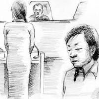 Condemned killer Junko Yoshida stands Tuesday as her appeal of the death penalty is rejected by the Fukuoka High Court.