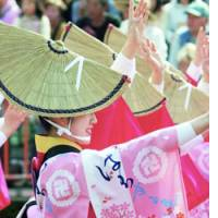 An Awaodori dancer in a team outfit bearing the Buddhist swastika performs April 30 in Tokushima.