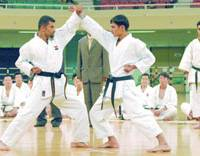 Members of the Iraqi Karate Federation demonstrate their techniques for members of the Self-Defense Forces at the Nippon Budokan hall in Tokyo on Saturday.