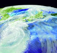 An Image of a 2003 typhoon is reproduced with help from the Earth Simulator supercomputer. | THE JAPAN AGENCY FOR MARINE-EARTH SCIENCE AND TECHNOLOGY PHOTO/KYODO