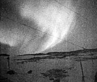 This still is from film shot in the Antarctic in 1959, showing the aurora australis and in the left foreground what appear to be the dogs Taro and Jiro. | NATIONAL INSTITUTE OF INFORMATION AND COMMUNICATIONS TECHNOLOGY PHOTO/KYODO