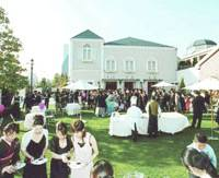 A reception is held last month at Partire Tokyo Bay Wedding Village, which caters to so-called house weddings. | KYODO PHOTO